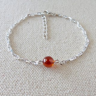 Sterling Silver ***Fashion 【Lucky Stone】 Orange Pomegranate Bracelet*【3】 * 【Small chain models】 Move happiness love