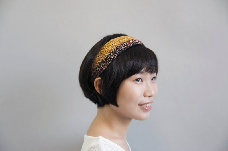 Crochet Headband-darkblue/yellow