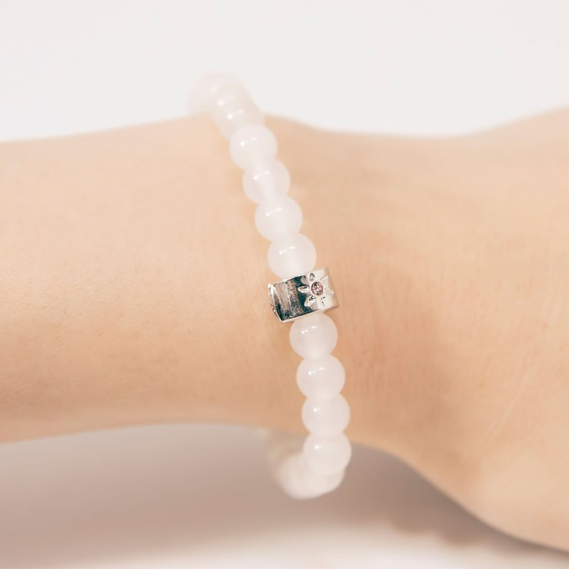 White Agate 6mm Beads Bracelet Precious Stones A-class Natural Silk