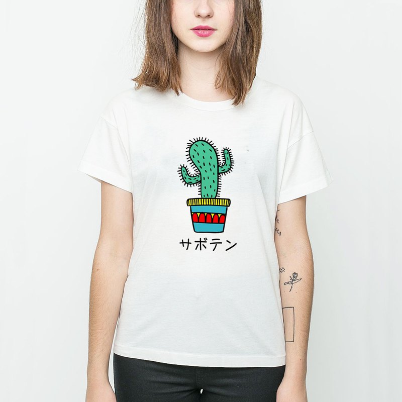 Cactus Japanese men and women short-sleeved T-shirt white plants fleshy friends potted fresh healing creative plants Wenqing Arts