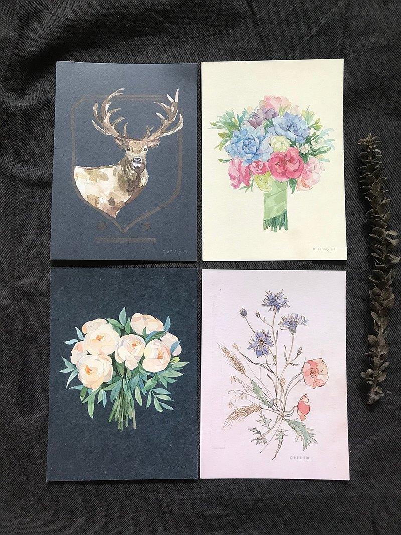 花卉、麋鹿任選 水彩風插畫明信片