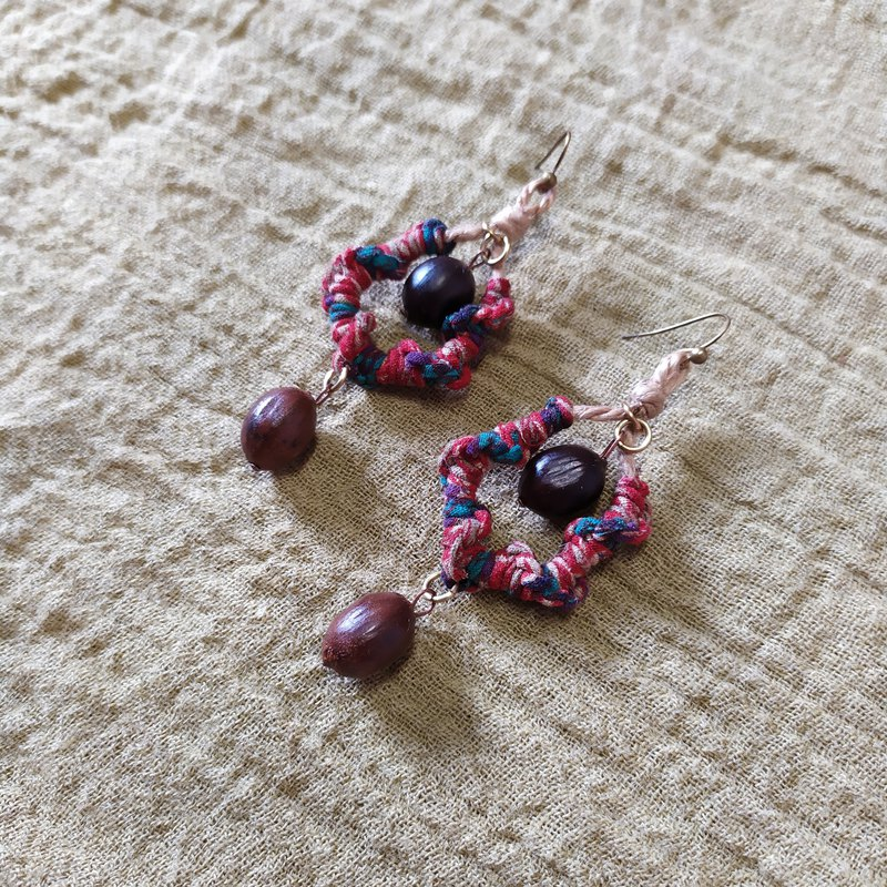 :: Botanical Jewelry :: Double Dropping Seeds Drops Sari Earrings