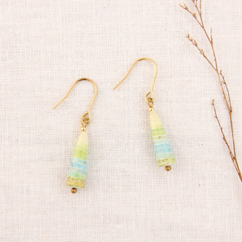 MUSEV Blue Green Yellow Beautiful Gradient Small Awl Earrings
