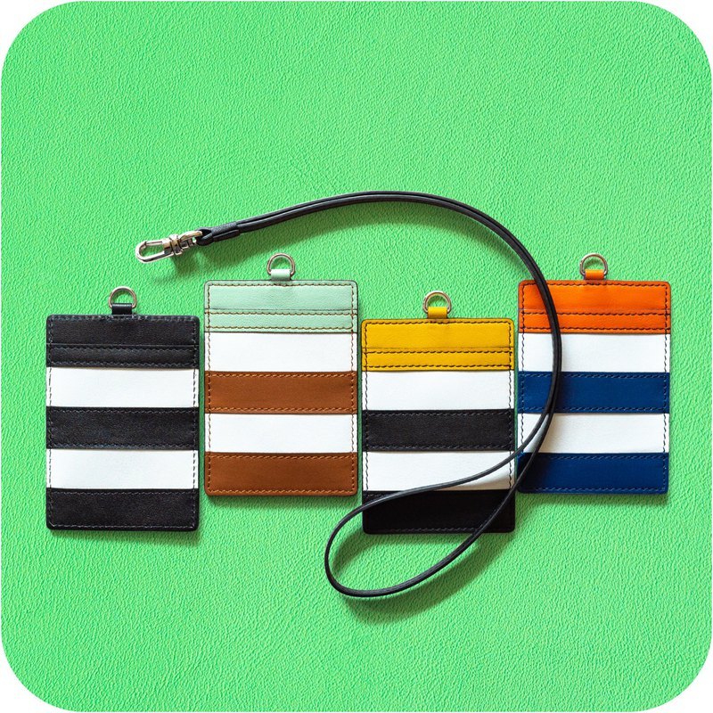 Patina leather hand-made two-color striped document holder identification card sets