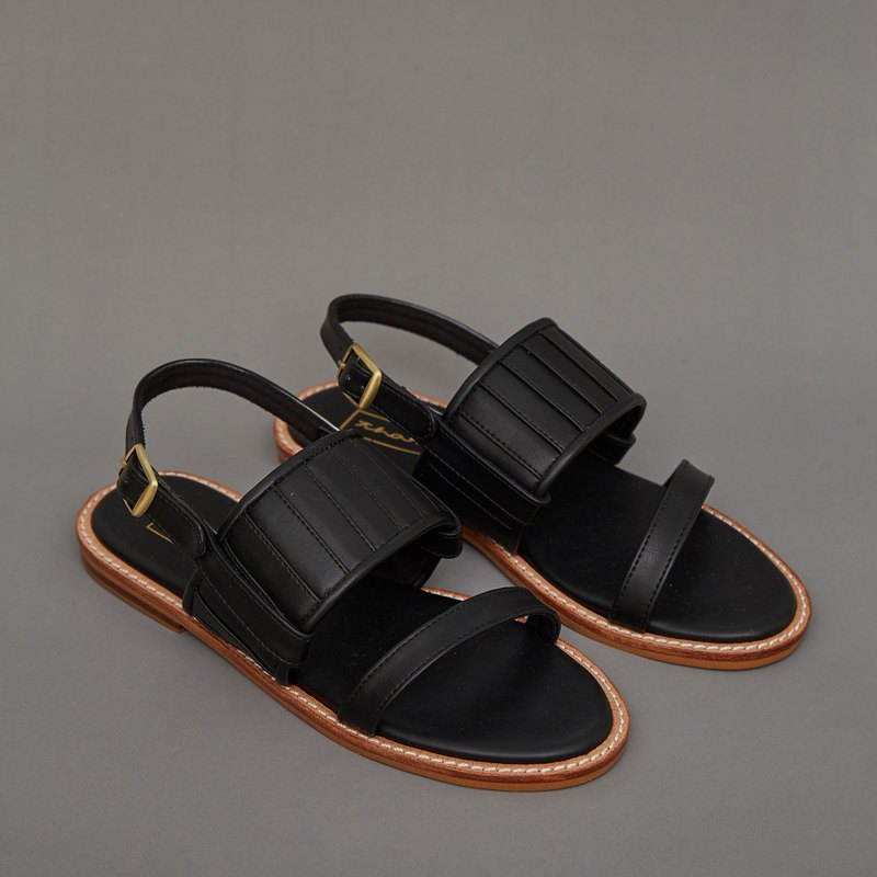 Pleated 2in1 Sandals - Black