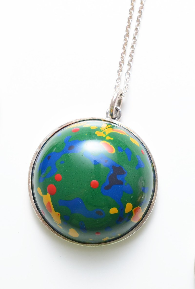 Paint. Amusement Park Necklace (925 Silver + Contemporary Lacquer Art)
