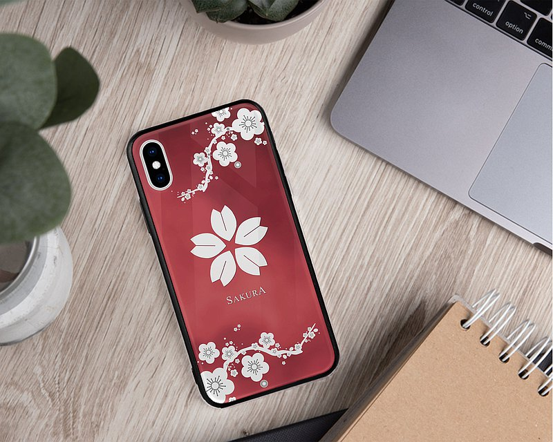 Dark red Sakura phone case iPhone 11 Pro Max Samsung Redmi Xiaomi Huawei