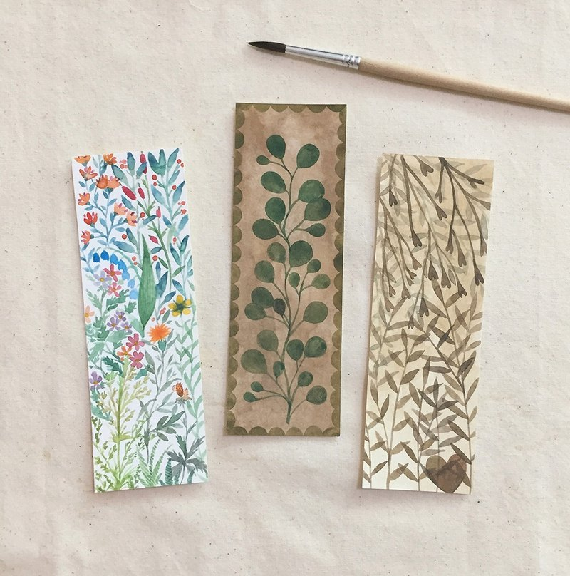 Cute exclusive hand-painted watercolor bookmarks non-printing couple friends gifts plants flowers leaves reading