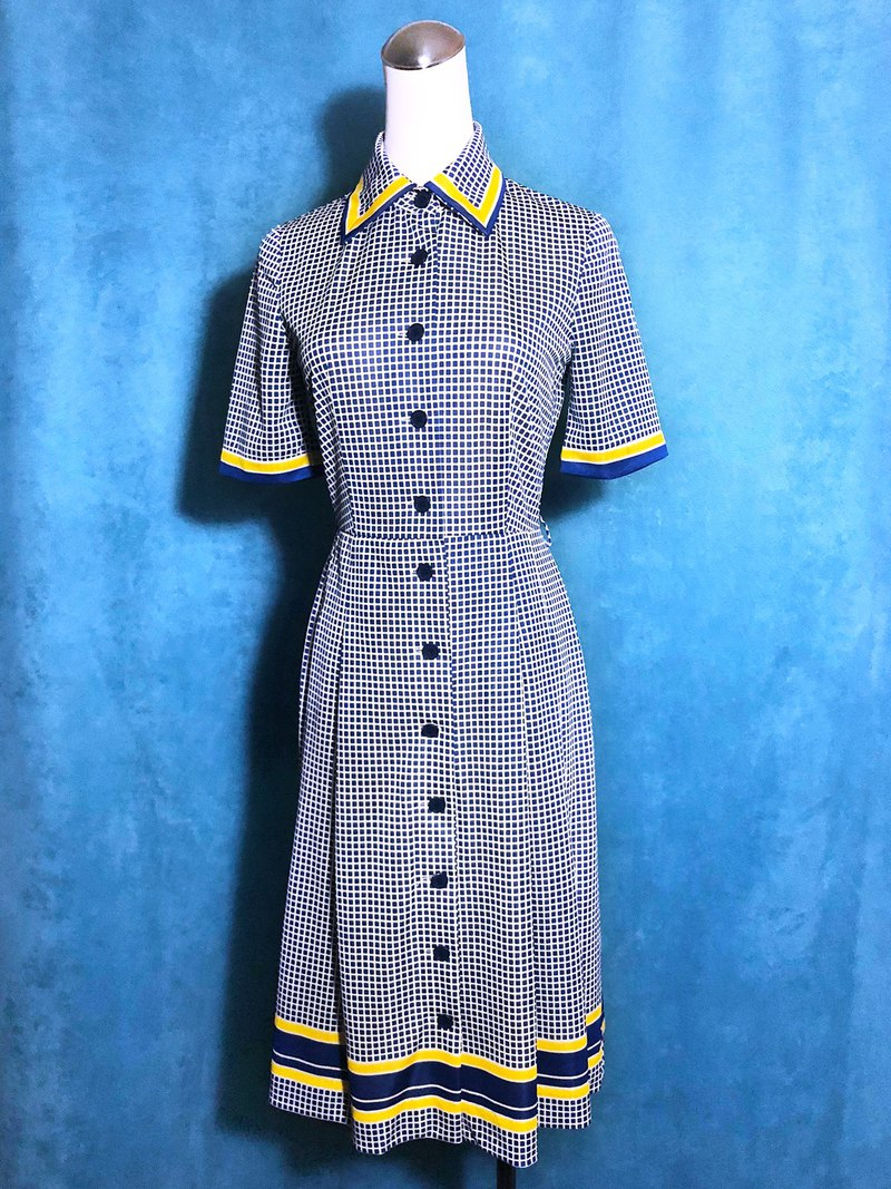 Vintage Plaid Short Sleeve Vintage Dress / Foreign Back to VINTAGE