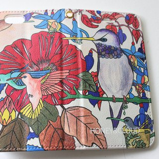 "Handbook type iPhone case ""Hummingbird"