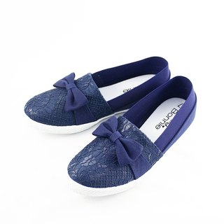 Parent-child shoes lace elastic band casual shoes - dark blue