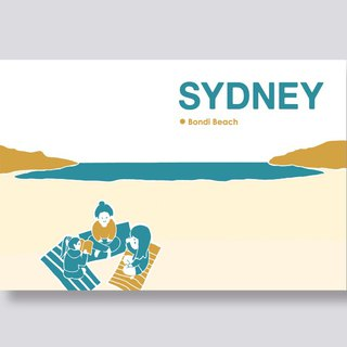 ittle ship Travel Illustration Postcards Sydney Series │ Bondi Beach Bondi Beach