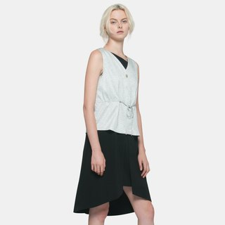 Textured Drawstring Vest (White)
