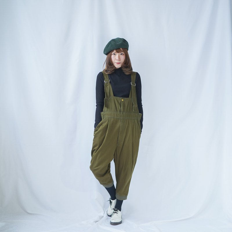 Vintage Olive Green Denim Overall