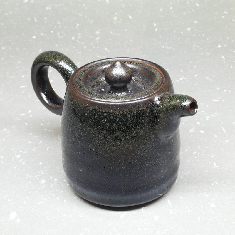 Ink rhyme bucket type side teapot handmade pottery tea props