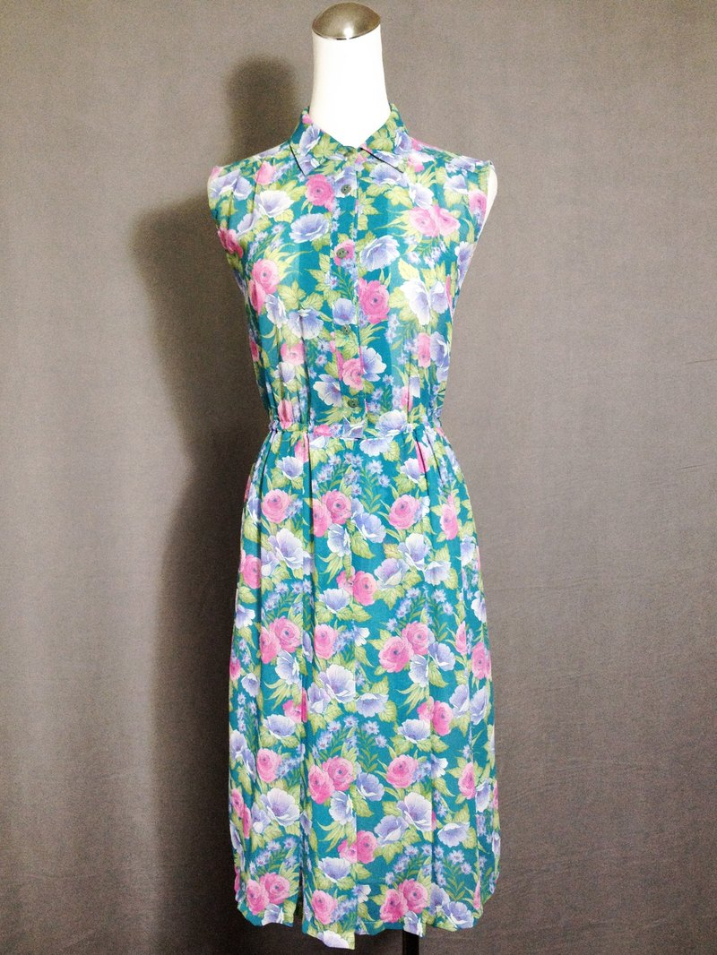 Ping-pong vintage [vintage dress / Nippon lake green flowers vintage sleeveless dress] abroad back VINTAGE