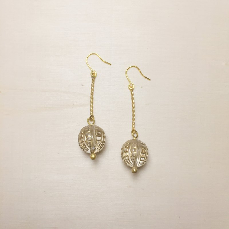 Vintage transparent engraving ball long stick earrings