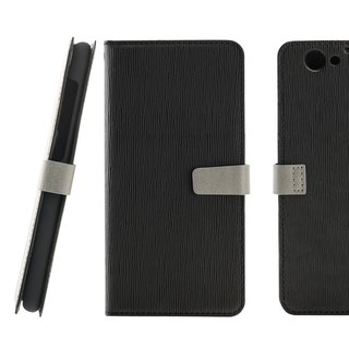 CASE SHOP HTC One A9s Wooden Side Strike Stand Vertical Leather Case - Black (4716779658392)