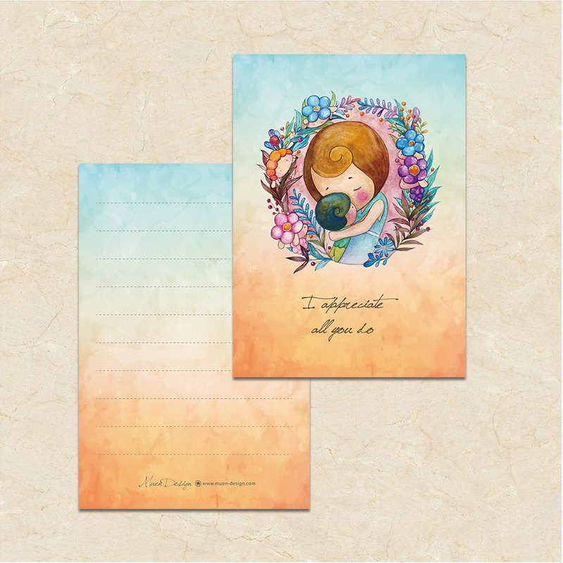 Gentle heart hand-painted universal postcard with envelope