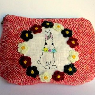 Wool Pouch * Rabbit Embroidery B *