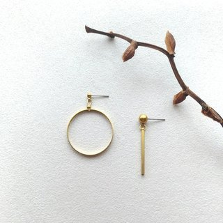 0 & 1 - brass pin clip earrings