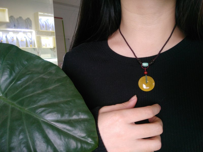 [customized] Amber natural amber safety buckle necklace