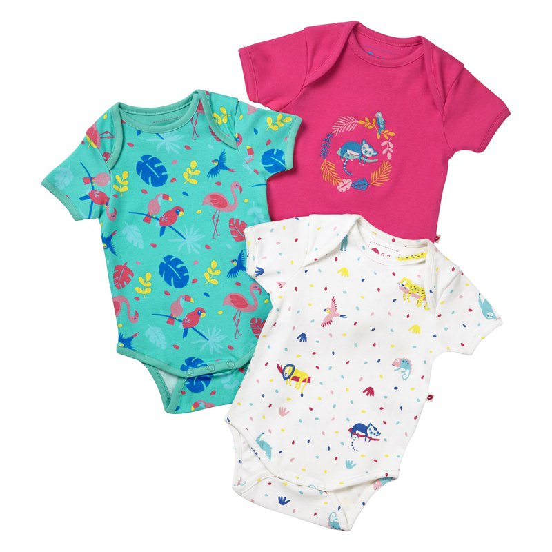 100% organic cotton cute rainforest baby fart suit three-piece group