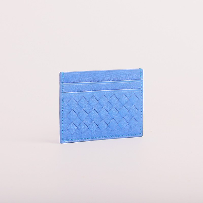 Woven card holder _ light blue