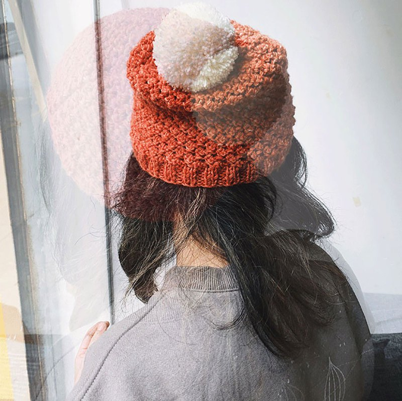[Fasti years old] grass wood dyed pure wool hat hand-woven wool hat cold water cap - red + pompom