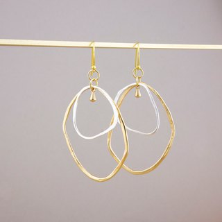 Silver x Brass - Duo Hoops Hammered Texture Earrings - Handmade - Clipon