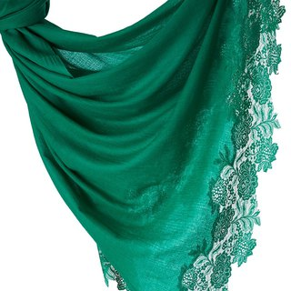 [ANGEL WOOLEN] Indian handmade French lace shawl scarf (green forest)