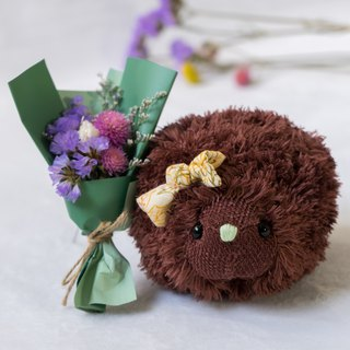 Soft little hedgehog with dry bouquet - Brown