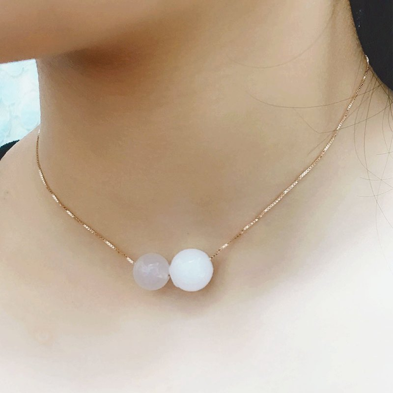 White Chalcedony April Birthstone Aromatherapy Necklace Rose Gold 925 Silver