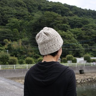 Wool knit cap / white / brown / yuoworks