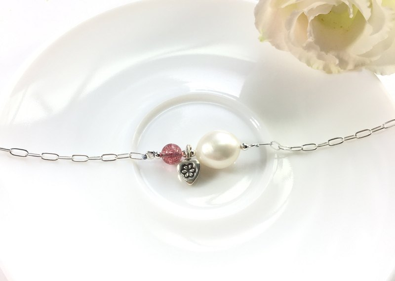 Ops Pearl Strawberry Crystal Heart silver Personalized bracelet
