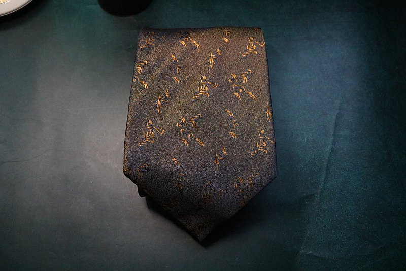 Coffee little bamboo leaf tie silk gold bamboo shadow gentleman style necktie