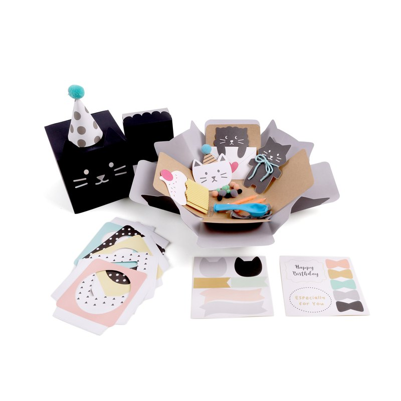 [Jeantopia] Gift gift box cute cat surprise box handmade card | 9027409