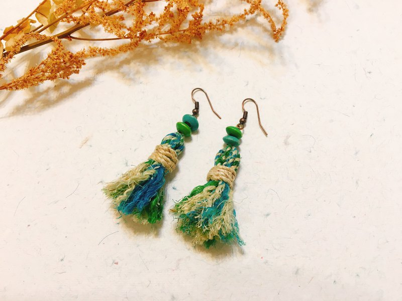 Blue-green dream. Woven earrings