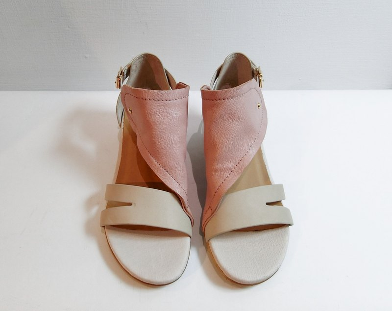 Painting # 8052 || calfskin + sheepskin wedge sandals with strawberry cake ||