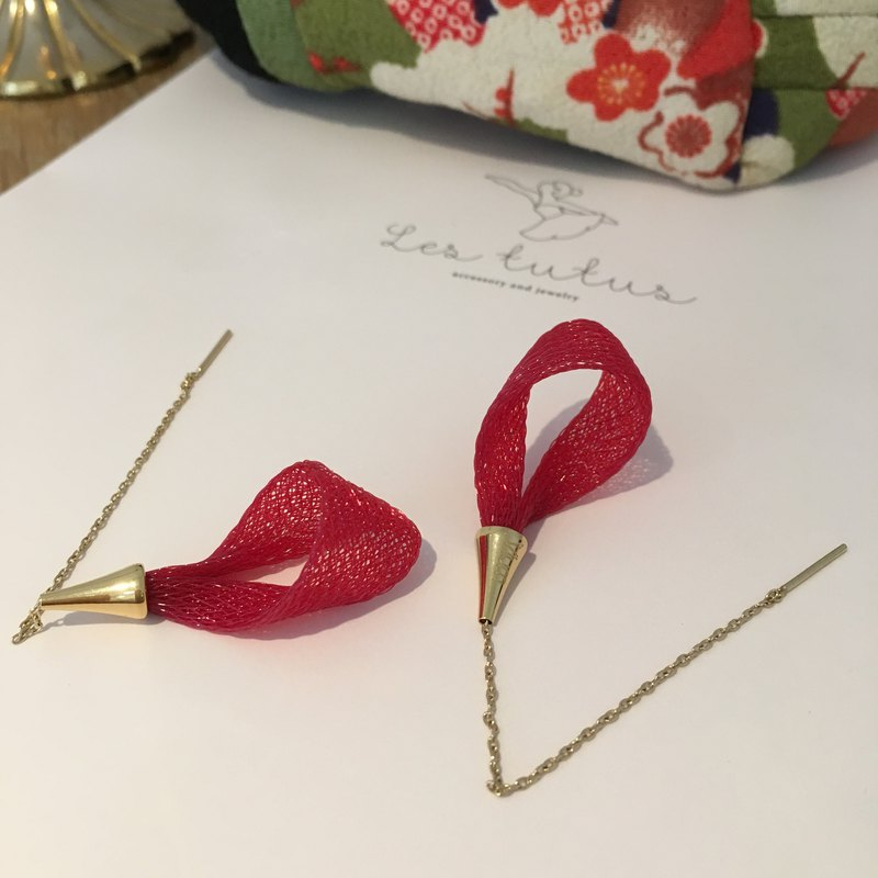 French handmade nylon petals earrings _ bright red