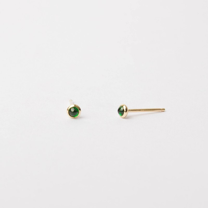Natural Petite Tsavorite Cabochon Bezel Set 14K Yellow Solid Gold Stud Earrings
