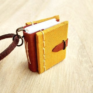 Mini Book Necklace (mustard), with adjustable faux suede cord
