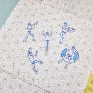 | Waterproof stickers | Swimming people