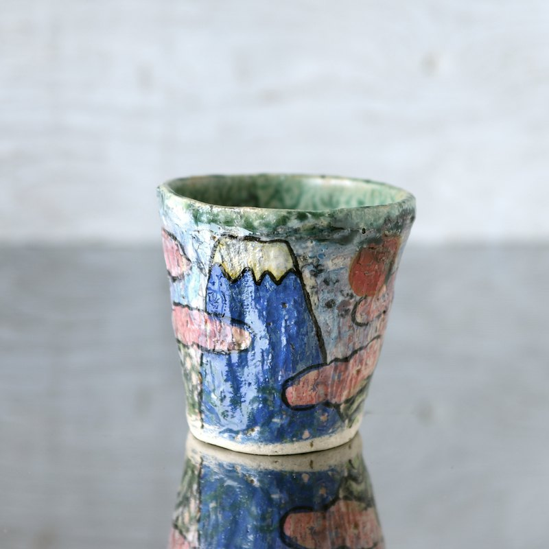 Hand twist cup · blue Fuji and rosy cloud
