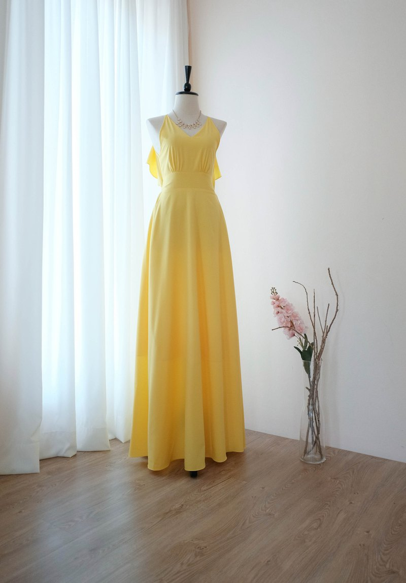 Lemon Yellow dress Long bridesmaid dress Cocktail prom party dress