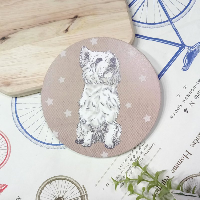 Looking up ~ Sketch West Highland White Terrier-Absorbent Coaster ~ Ceramic Coaster