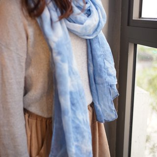 Blue Stained Cotton Scarf. Shawl | Clear Sky