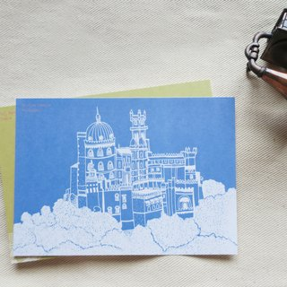 Travel landscape Portugal - Sintra Pena Palace / illustration postcard