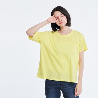 Shine Cotton Fabric Asymmetry Sleeves T-shirt Top Yellow