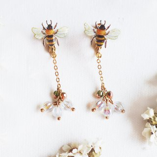 Bee long hanging earrings ear clip